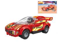 EDUKIE stavebnice auto závodní červené na zpětný chod 111 ks + 1 figurka