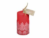 Svíčka KRAJKA VELUR VÁLEC vánoční matná d7x14cm