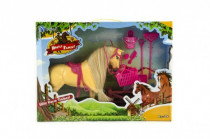 Kůň česací s doplňky a ohradou plast - mix barev