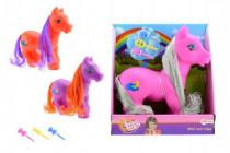 Kůň pony česací s hřívou a s hřebínkem guma/plast 22cm - mix barev