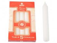 svíčka stolní 18cm BÍ (5ks) (hoří 5x6hod)