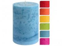 svíčka pr.10x15cm, zasněžený dekor - mix barev