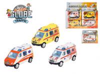 Auto Ambulance 8cm kov na zpětné natažení - mix barev