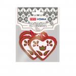 Dekorativní plstěné ozdoby srdce bílé 3ks se samolepkou 74x82 mm