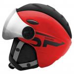 Spokey MONTANA lyžařská přilba s vyměnitelným čelním sklem, černo-červená, vel. L/XL