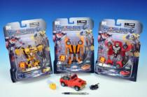 Transformer auto/robot plast 15cm na baterie meč se světlem - mix variant či barev