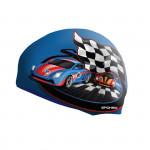 Spokey STYLO Junior Dětská plavecká čepice modrá závodní auto
