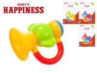 Chrastítko trumpeta 9 cm Baby\'s Happiness - mix barev