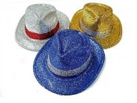 Klobouk party s pruhem se třpytkami plast 30cm karneval - mix barev