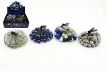 Kuličky skleněné cvrnkací různé velikosti 38+2 ks v síťce 7x7cm - mix variant či barev