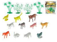 Zvířátka farma 4-6 cm + 4 stromky 16 ks - mix variant či barev