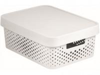 box úložný INFINITY děrovaný 36,3x27x13,8cm s víkem, plastový, BÍ