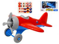 Letadlo veselé 23 cm volný chod s nálepkami - mix barev