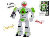 Robot česky mluvící 32 cm chodící na baterie se světlem a zvukem