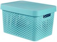 box úložný INFINITY děrovaný 36,3x27x22,2cm s víkem, plastový, MO