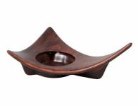 Svícen WOOD keramický tmavě hnědý matný 21cm