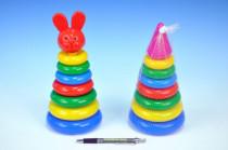 Skládanka pyramida s kroužky plast 24cm v síťce 12m+ - mix variant či barev