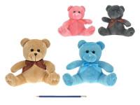 Medvídek plyšový 19 cm s mašličkou - mix barev