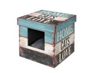"Domek cat dřevo - Krabice ""Home cats Love"" D&D EBI 35 x 35 x 35 cm"