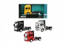 Auto nákladní tahač truck kov 10cm na zpětné natažení - mix barev