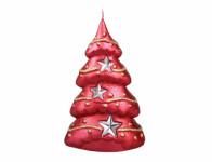 Svíčka vánoční STROMEK S HVĚZDAMI S metalická 9x15cm