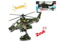 Vrtulník vojenský 33 cm na baterie narážecí se světlem a zvukem