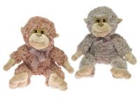 Opice plyšová 30 cm s mašlí - mix barev