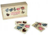 Domino zvířátka pana Müllera společenská hra dřevo 28ks v dřevěné krabičce