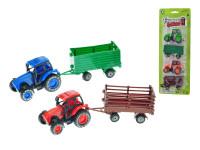 Traktor 8,5 cm zpětný chod 2 ks s vlečkami - mix barev
