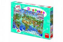 Puzzle Mapa světa ilustrovaná 300XL dílků 47x33cm v krabici 33x23x3,5