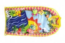 Hrací podložka/Hrazda pro děti a chrastítky plyš/plast v plastové tašce 18m+