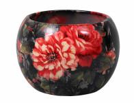 Obal na květník MANES ROSA keramický černý lesklý d16x16cm