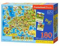 Puzzle Mapa Evropy 180 dílků + 32 puzzlí naučné 46x40cm