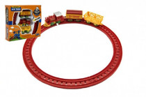Vlak na klíček + 2 vagónky s kolejemi plast 7cm - mix barev