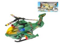 Vrtulník vojenský 26 cm narážecí na baterie se světlem a zvukem - mix barev