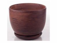 Květník PURKYNĚ WOOD + podmiska keramický matný d13x11cm