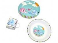 sada jídelní dětská SLON 3díl. porcelánová