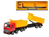 Auto nákladní sklápěčka na setrvačník s přívěsem 60 cm - mix barev