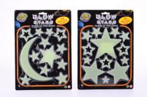 Svítící hvězdičky a měsíček ve tmě nalepovací
