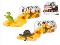 Dinosaurus 6 cm se slizem v kelímku - mix variant či barev