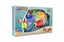 Hra ryby/rybář plast 4ks + prut 23cm