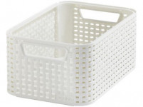 box úložný RATTAN 28,5x19x13cm (S), STYLE2, plastový, KRÉM