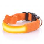 Svítící LED obojek s USB nabíjením, oranžový, Domestico