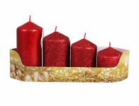 Svíčky adventní STUPŇOVITÉ glitrované d5x6/7,5/9/10,5cm 4ks