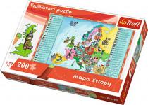 Vzdělávací puzzle mapa Evropy 200 dílků 60x40cm