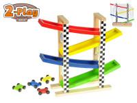 Dráha závodní 30x33x9,5 cm dřevěná s auty 4,5 cm 4 ks 2-Play
