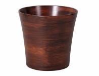 Obal na květník RABAS WOOD keramický hnědý matný d13x14cm