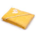 Dětská osuška s kapucí 100x100 cm, froté žlutá s medvídkem, Cuculo