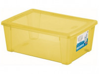 box úložný SCATOLA 10l, 36,5x25,5x14cm s víkem plastový, ŽL, RŮŽ