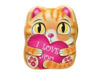 Polštářek plyšový světle hnědá kočka 35x30 cm